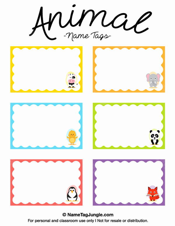 Free Name Tag Template Lovely Animal Name Tags Preschool Ideas Pinterest