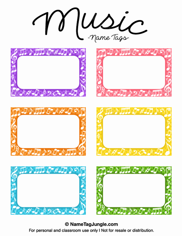 Free Name Tag Template New Free Printable Music Name Tags the Template Can Also Be