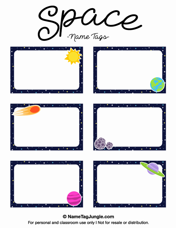 Free Name Tag Template Unique Printable Space Name Tags