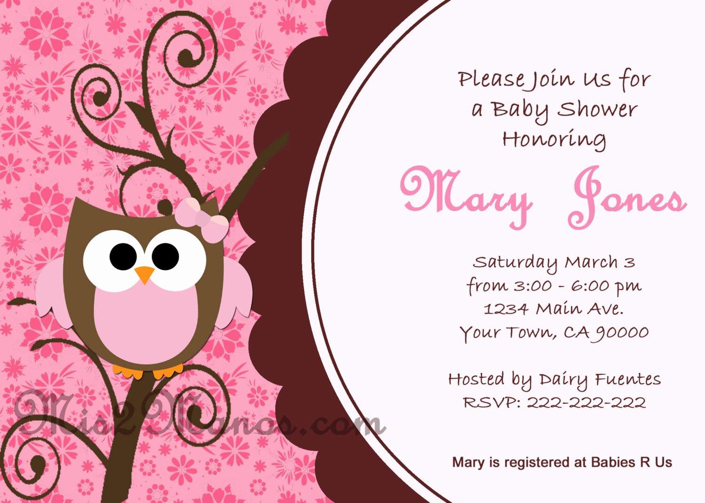 Free Owl Invitation Template Elegant Baby Shower Owl Invitations Printable Pink Owl Custom order