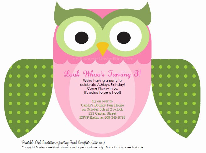 Free Owl Invitation Template Inspirational Printable Diy Kids Birthday Invitations Cute Owl Invites