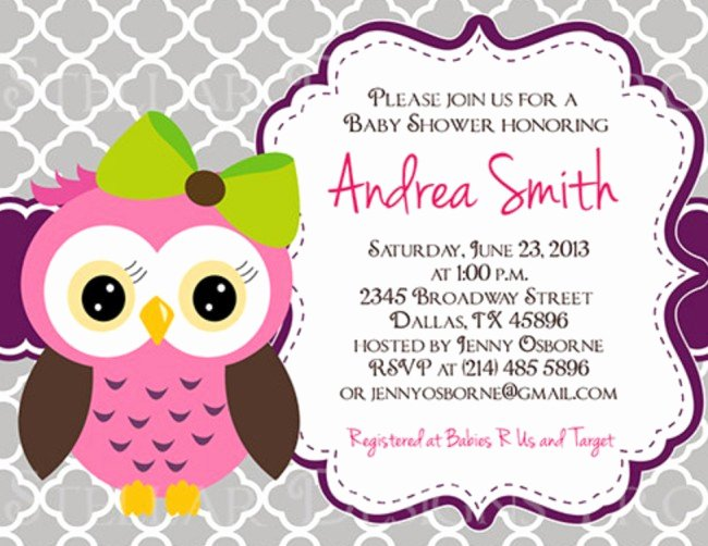 Free Owl Invitation Template Lovely Owl Baby Shower Invitation On Etsy