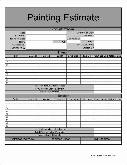 Free Painting Estimate Template New Free Numbered Row Painting Estimate form From formville