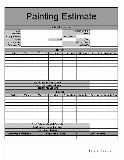 Free Painting Estimate Template Unique 9 Best Of Painting Estimate forms Printable Free