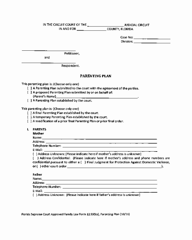 Free Parenting Plan Template Best Of 2018 Parenting Plan form Fillable Printable Pdf & forms