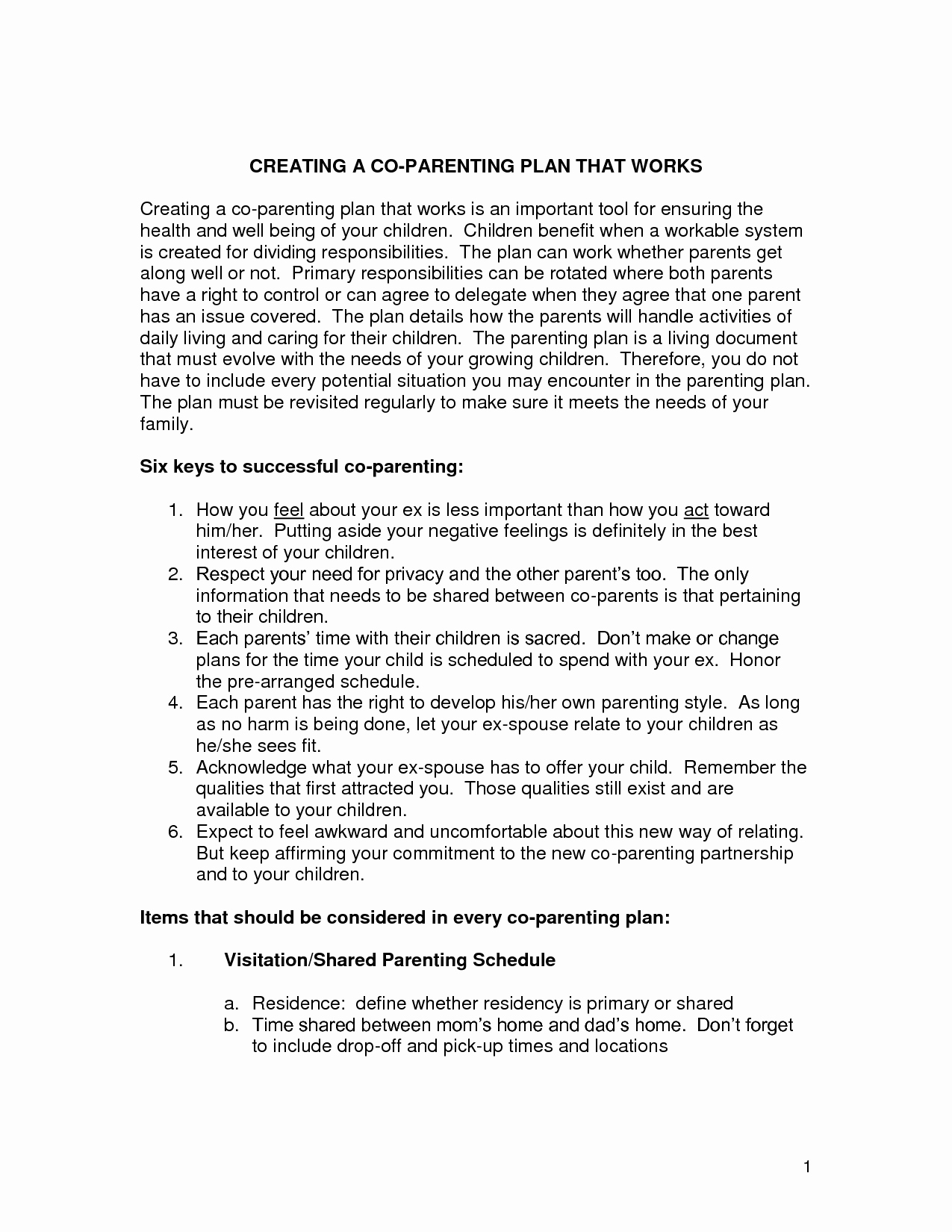 Free Parenting Plan Template Fresh Parenting Plan Agreement Template