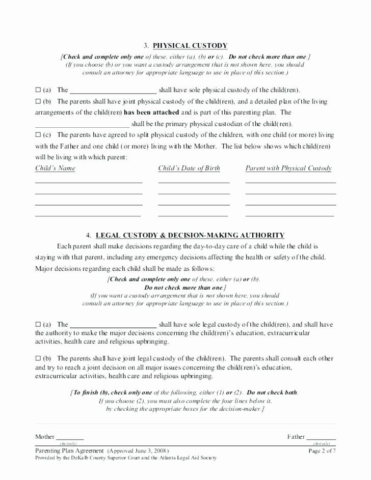 Free Parenting Plan Template Lovely Parenting Plan Worksheet – Kennedy King