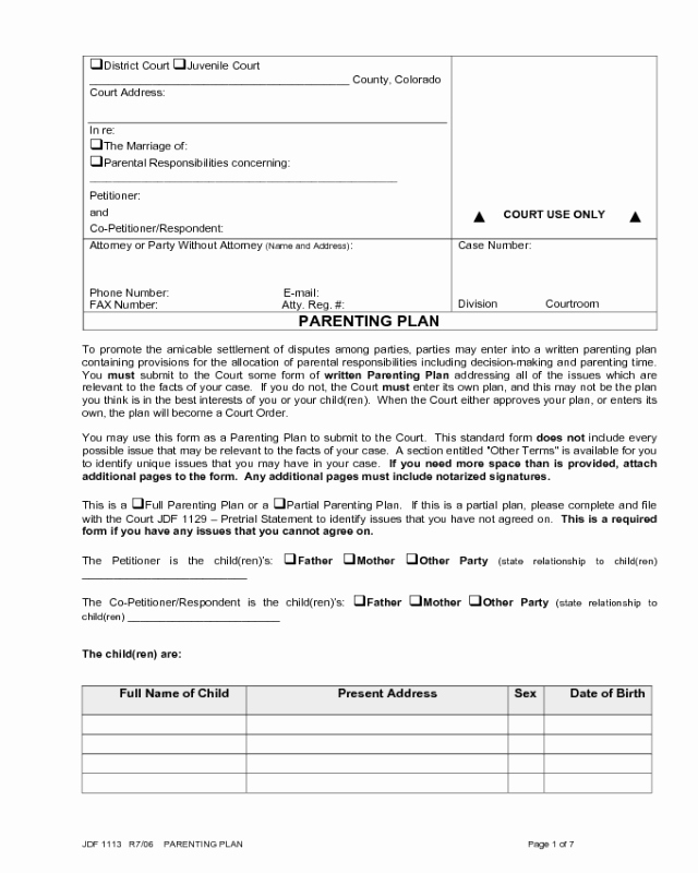 Free Parenting Plan Template Luxury 2018 Parenting Plan form Fillable Printable Pdf & forms
