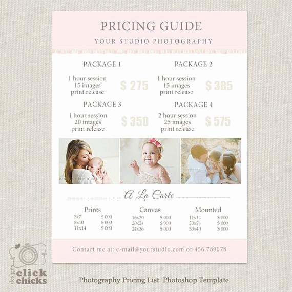 Free Photography Pricing Template Fresh Graphy Package Pricing List Template Graphy