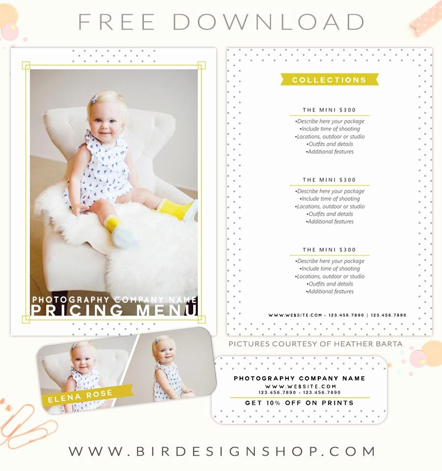 Free Photography Pricing Template Luxury Free Pricing Menu Template – Birdesign