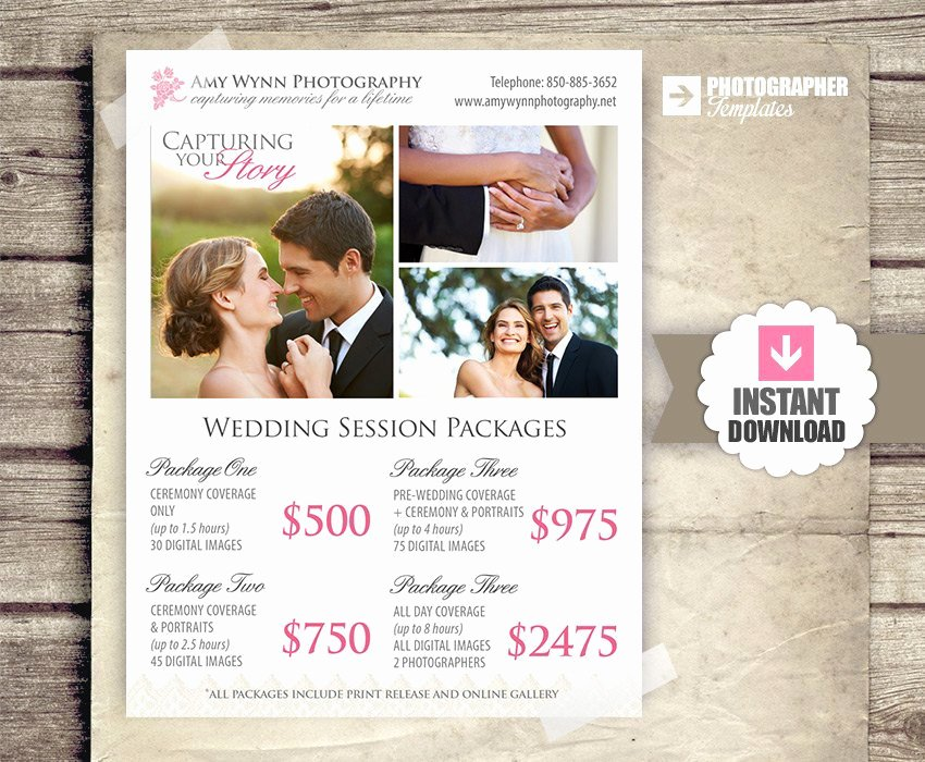 Free Photography Pricing Template New Wedding Graphy Package Pricing by Studiotwentynine On