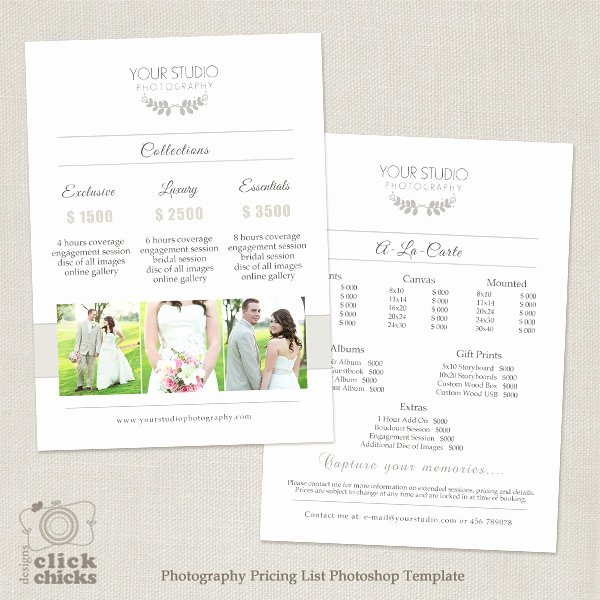 Free Photography Pricing Template New Wedding Graphy Pricing List Template 31