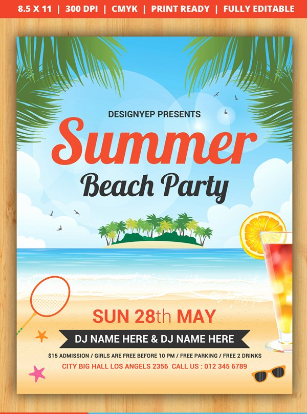 Free Picnic Flyer Template Best Of Beach Flyer Template Free Free Summer Beach Party Flyer