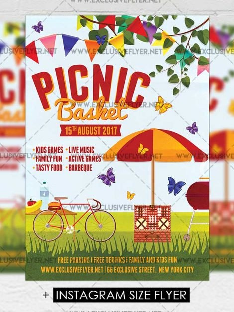 Free Picnic Flyer Template Fresh Picnic Basket – Premium A5 Flyer Template