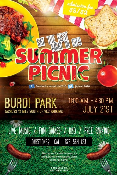 Free Picnic Flyer Template Fresh Summer Picnic Free Psd Flyer Template