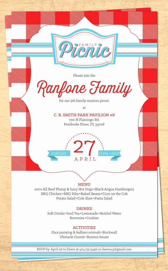 Free Picnic Invitation Template Best Of Family Reunion Picnic Invitation Bbq Invitation 4th Of