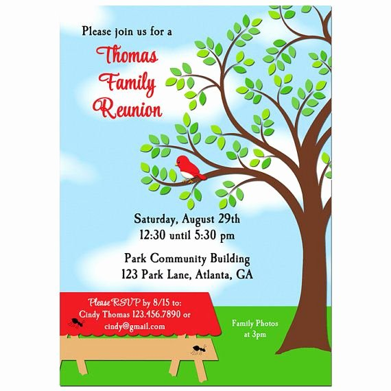 Free Picnic Invitation Template Elegant Family Reunion Picnic Bbq Park Invitation Printable or