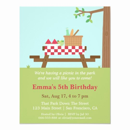Free Picnic Invitation Template Inspirational Picnic In the Park Birthday Party Invitations