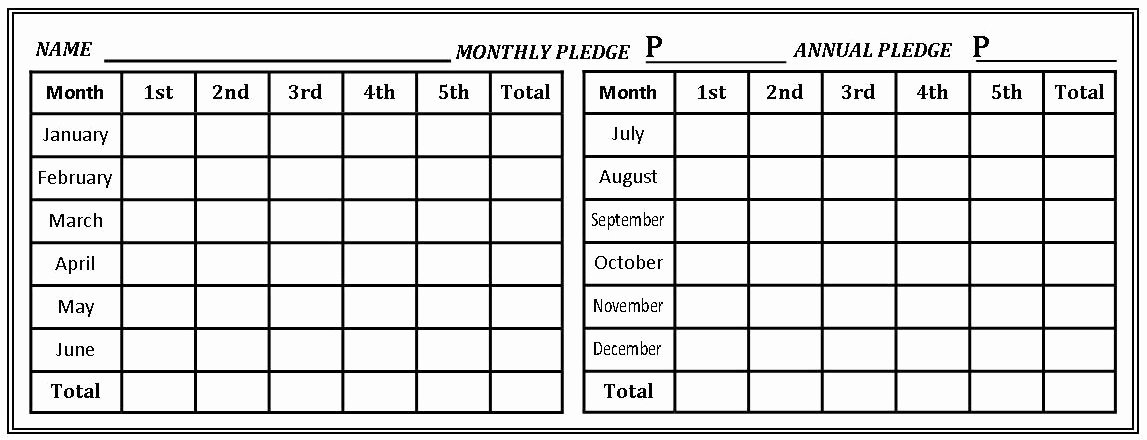 Free Pledge Card Template Best Of New Pledges & Tithes Card forms