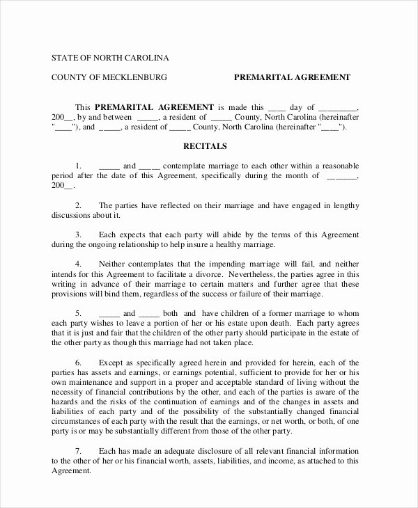 Free Prenup Agreement Template Beautiful 7 Prenuptial Agreement Samples Free Word Pdf format