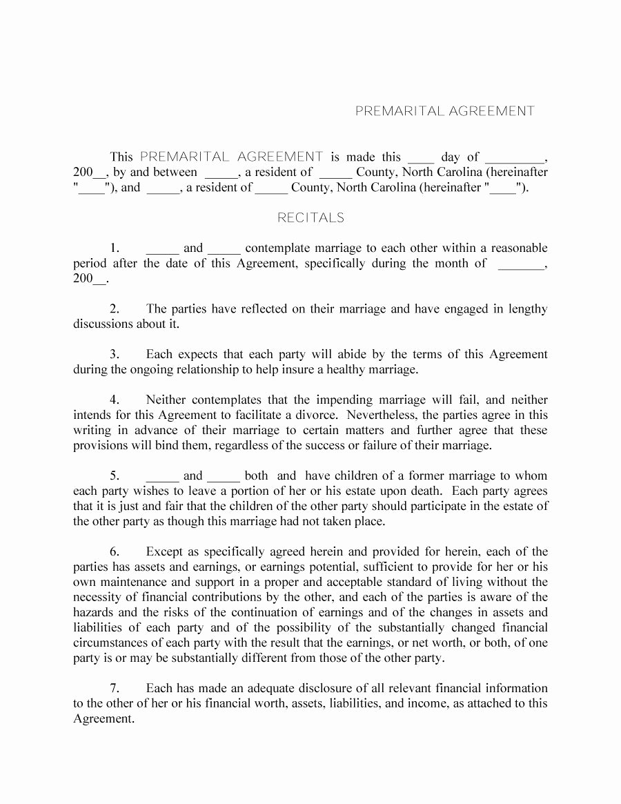 Free Prenup Agreement Template Elegant 31 Free Prenuptial Agreement Samples & forms Free