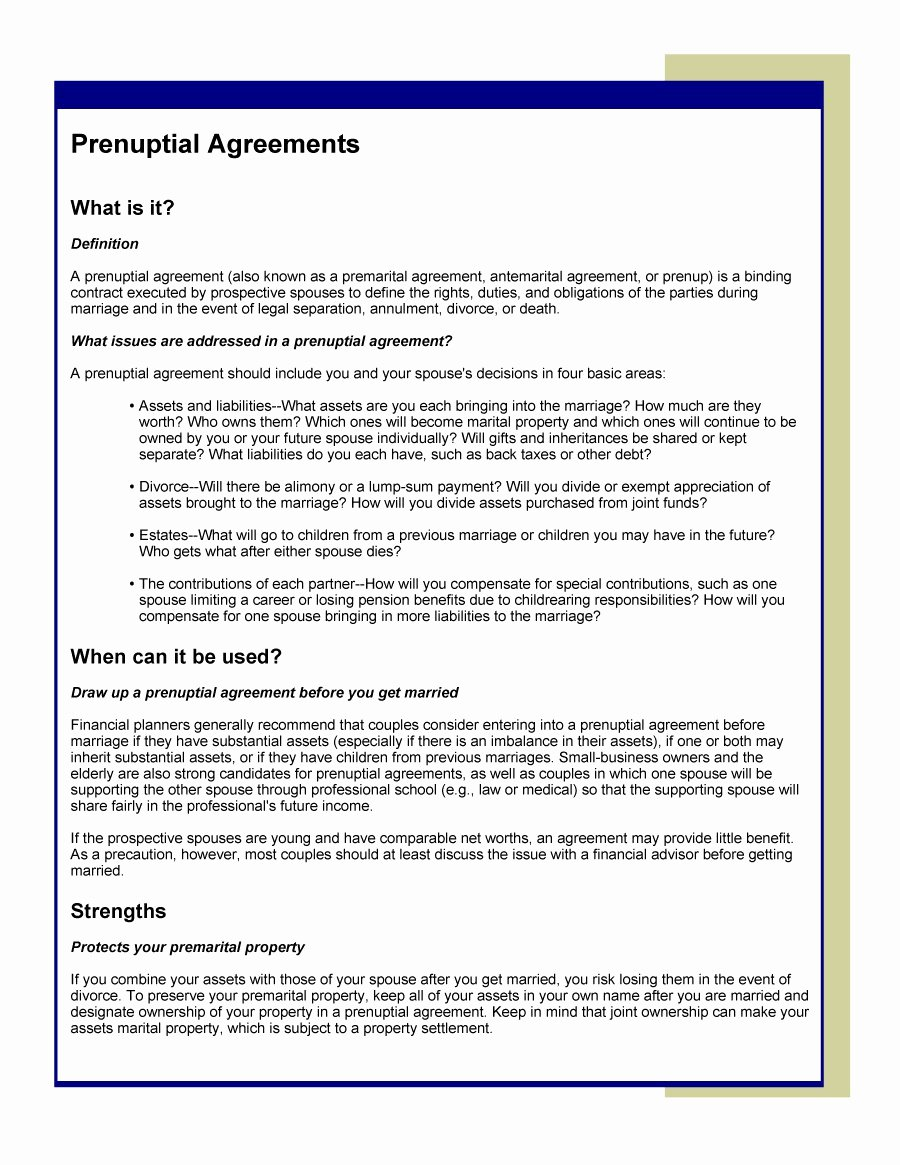 Free Prenup Agreement Template Fresh 30 Prenuptial Agreement Samples & forms Template Lab