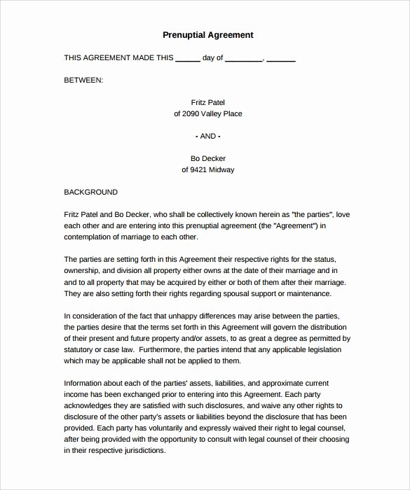 Free Prenup Agreement Template Inspirational 9 Sample Free Prenuptial Agreement Templates to Download