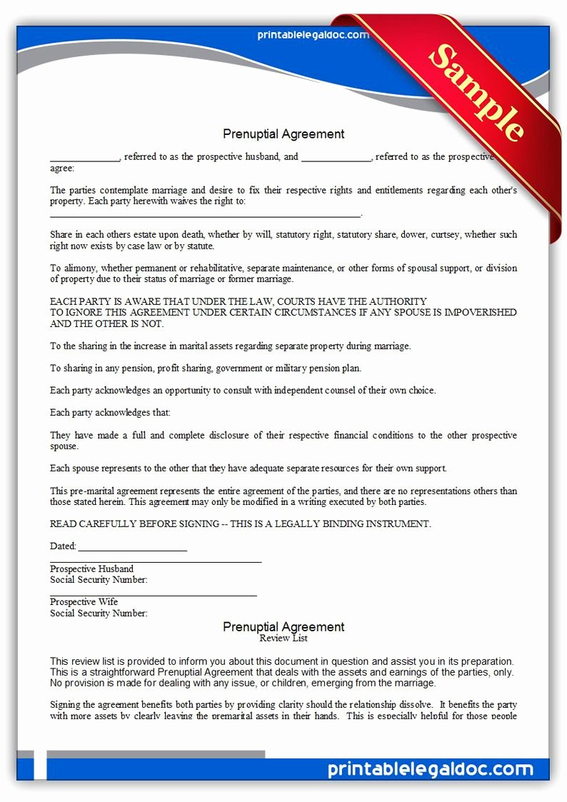 Free Prenup Agreement Template Inspirational Free Printable Prenuptial Agreement Legal forms