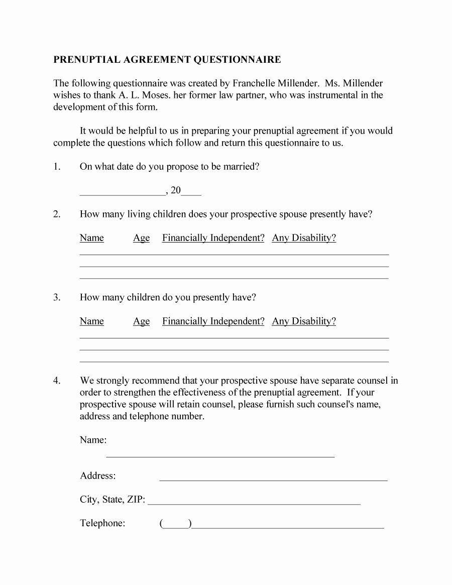 Free Prenup Agreement Template Lovely 31 Free Prenuptial Agreement Samples & forms Free