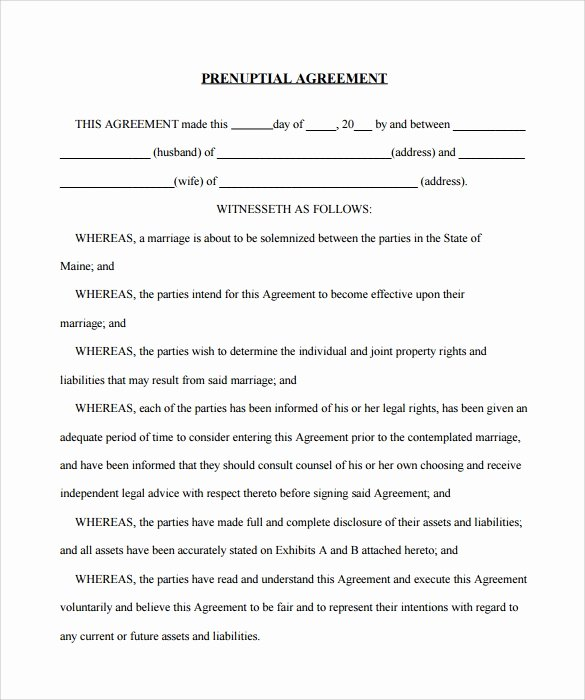 Free Prenup Agreement Template New 9 Sample Free Prenuptial Agreement Templates to Download