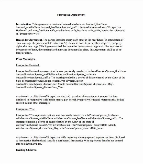 Free Prenup Agreement Template Unique Prenuptial Agreement 8 Download Documents In Pdf