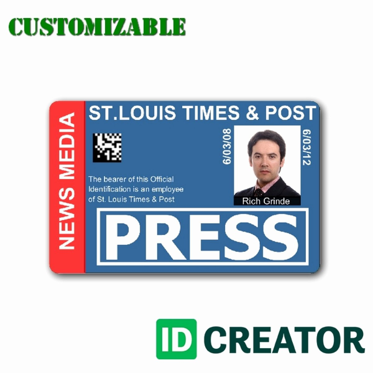 Free Press Pass Template Elegant Template Id Badge Template