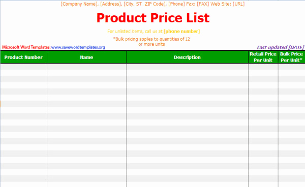 Free Price List Template Awesome Pin Word Templates Price List Templates