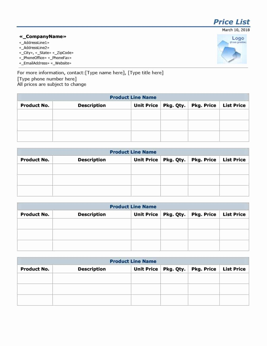 Free Price List Template Best Of 40 Free Price List Templates Price Sheet Templates