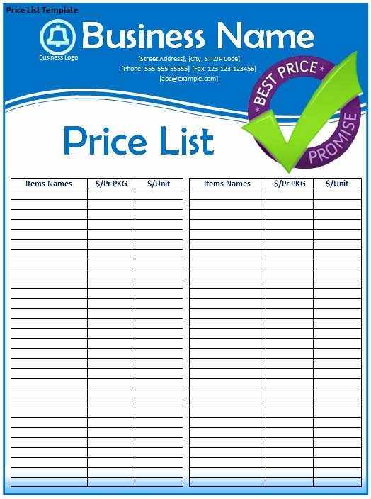 Free Price List Template Elegant Price List Template