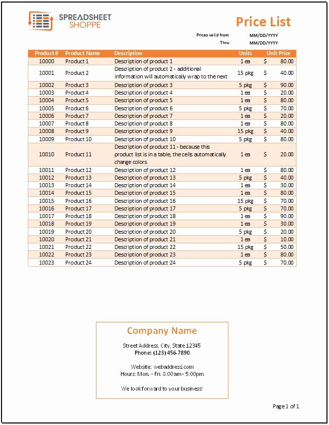 Free Price List Template Fresh Price List Template Spreadsheetshoppe