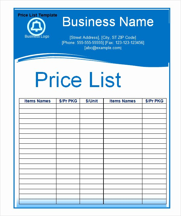 Free Price List Template Unique 6 Sample Price List Templates