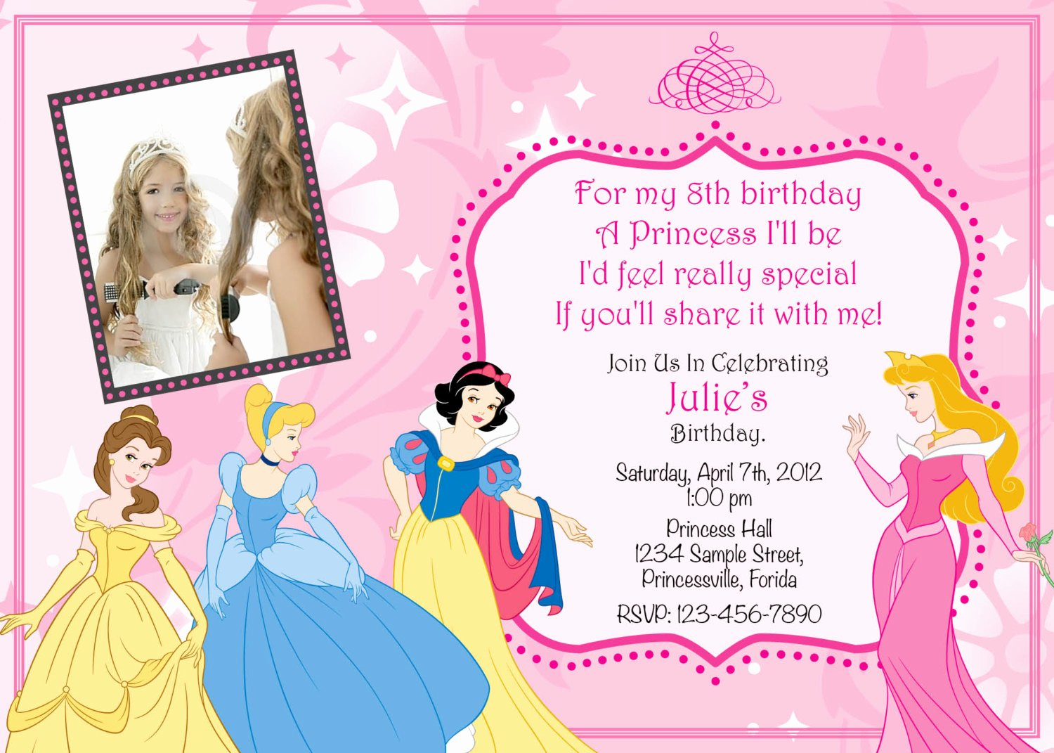 Free Princess Invitation Template Lovely Princess Birthday Invitation Templates
