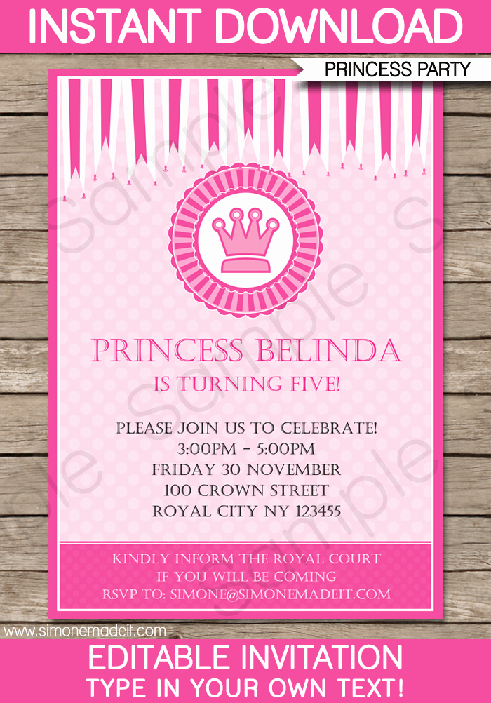 Free Princess Invitation Template Luxury Princess Party Invitations Template
