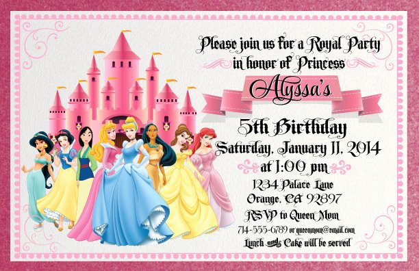Free Princess Invitation Template Unique Disney Princess for Girl Birthday Invitations Ideas