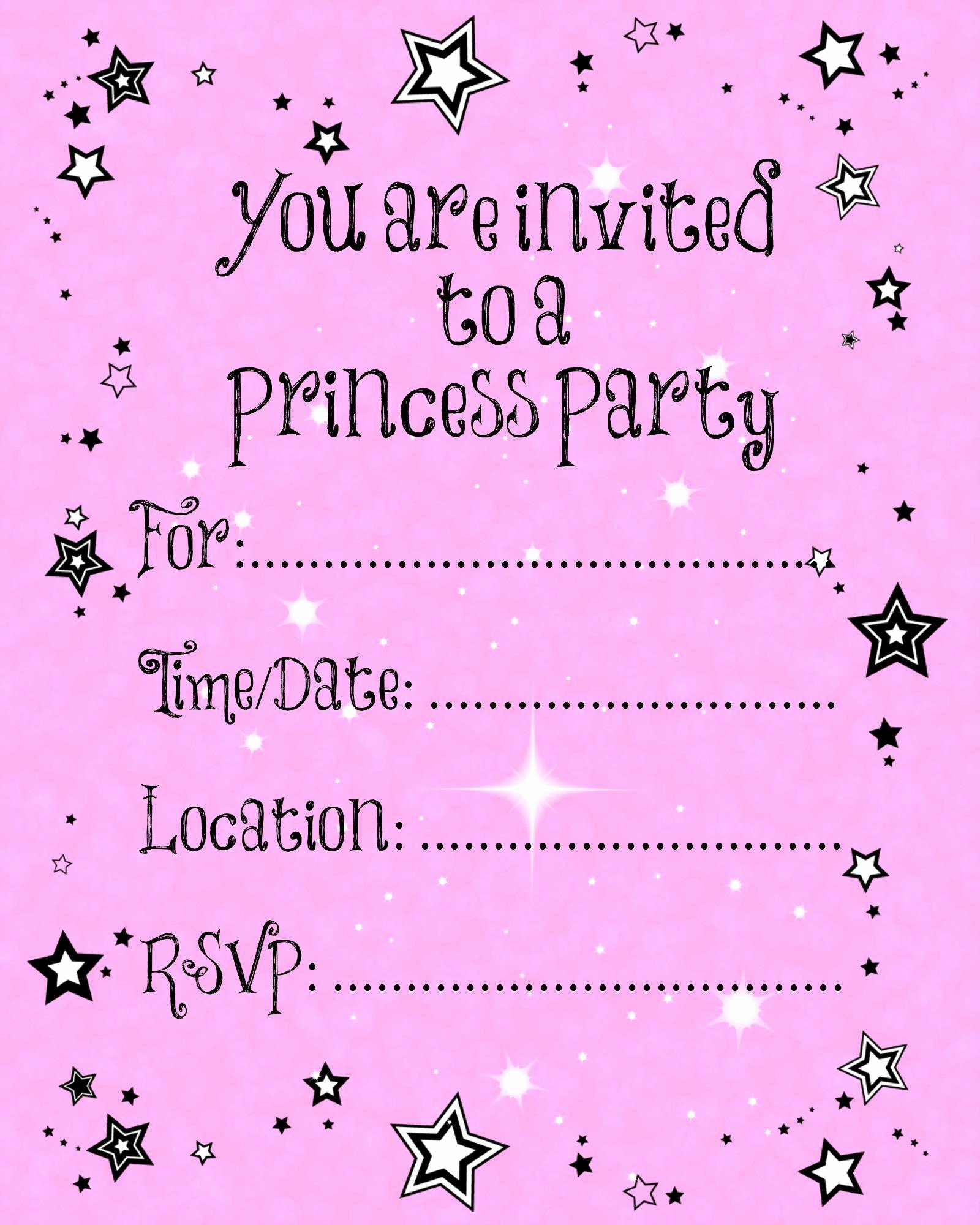 Free Princess Invitation Template Unique Free Printable Party Invitations Templates