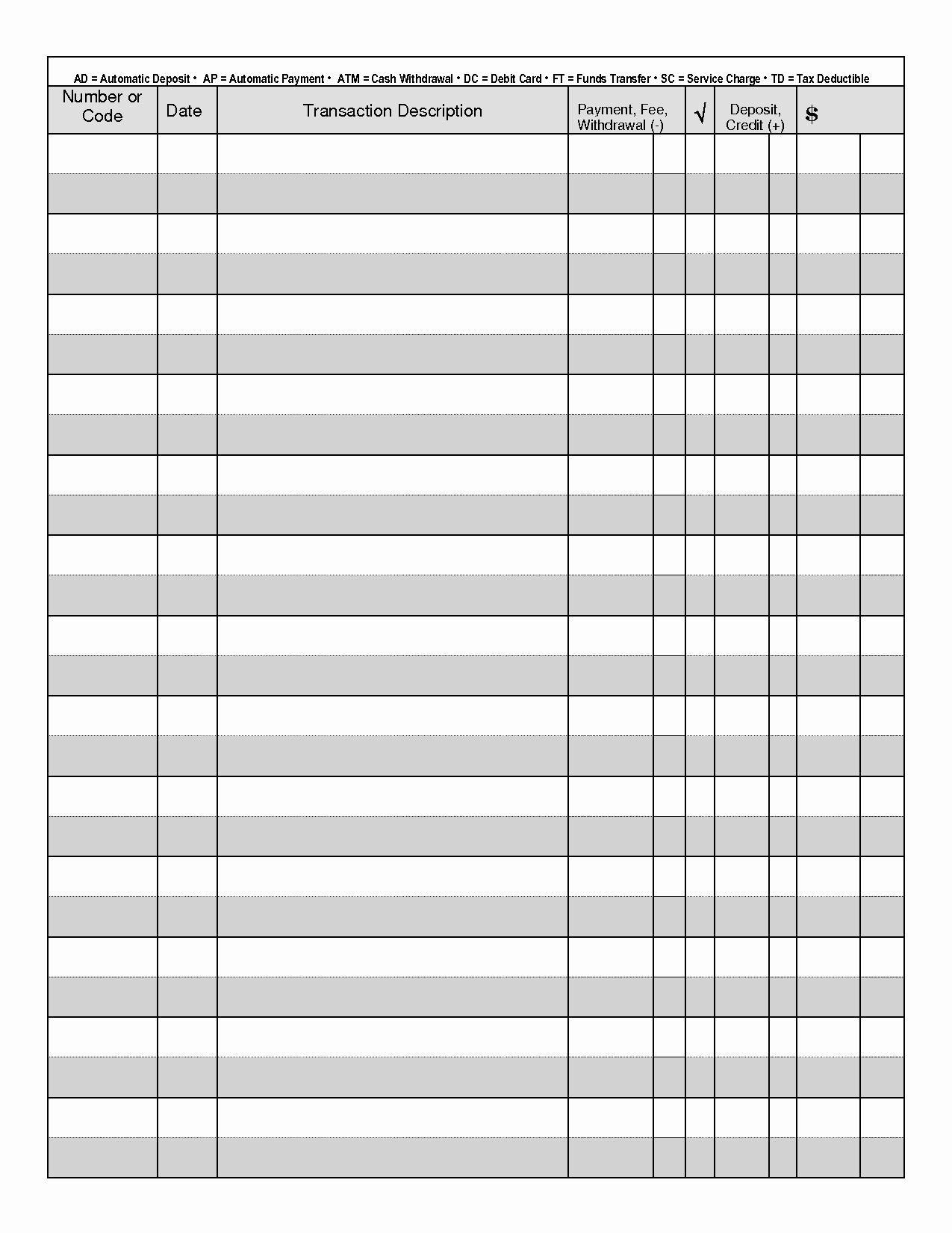 Free Printable Checks Template New Printable Check Register when You are Searching for