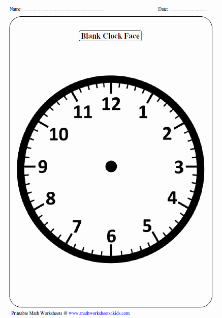 Free Printable Clock Template Unique Clock Worksheets and Charts