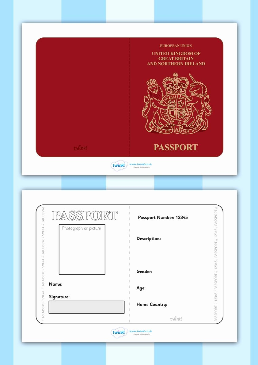 Free Printable Passport Template Beautiful Twinkl Resources British Passport Template Printable