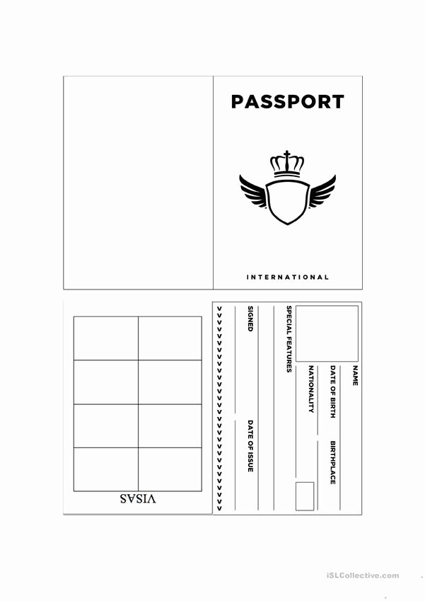 Free Printable Passport Template Inspirational Passport Template Worksheet Free Esl Printable