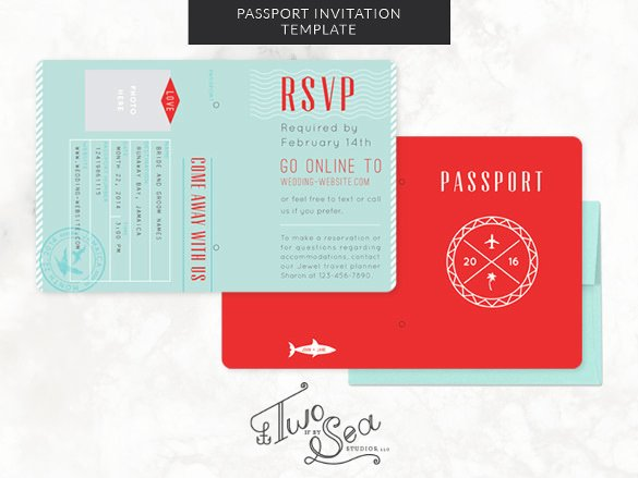 Free Printable Passport Template New 16 Passport Invitation Templates Free Sample Example