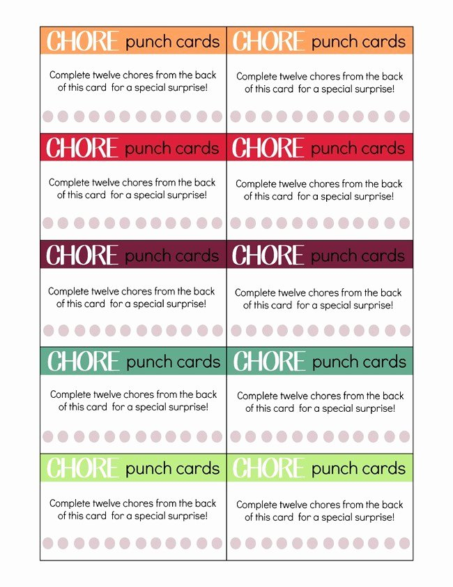 Free Punch Card Template Fresh Printable Chore Punch Cards for Kids My Craftily Ever after