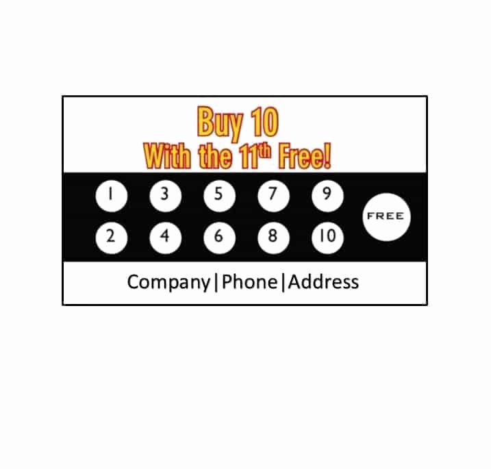 Free Punch Card Template Inspirational 30 Printable Punch Reward Card Templates [ Free]