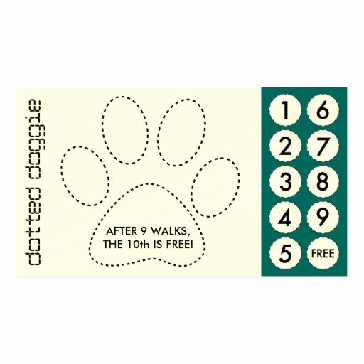 dog walker cut out punch cards business card
