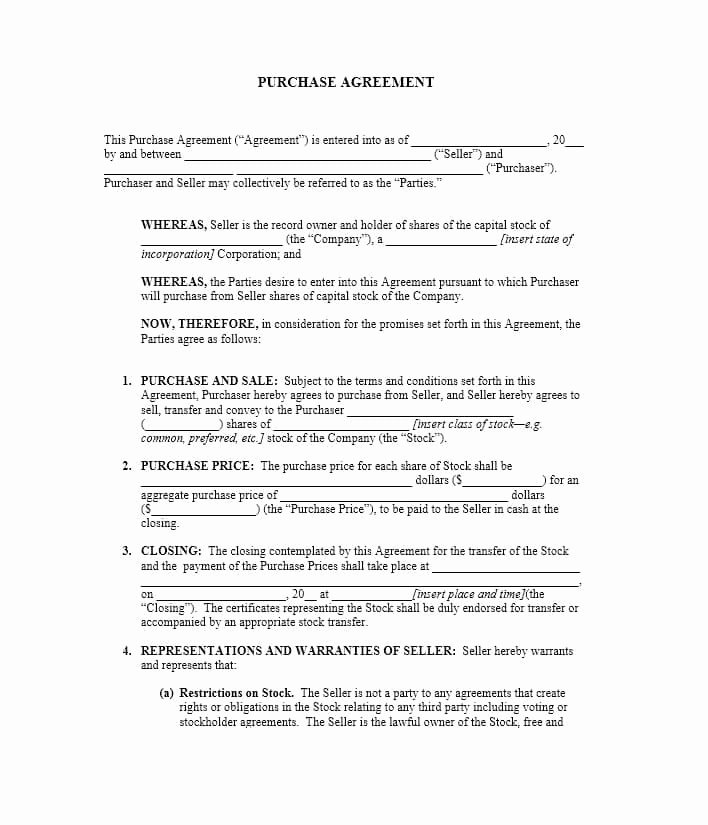 Free Purchase Agreement Template Fresh 37 Simple Purchase Agreement Templates [real Estate Business]